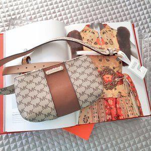 NWT Michael Kors cream, beige & brown belt bag S/M